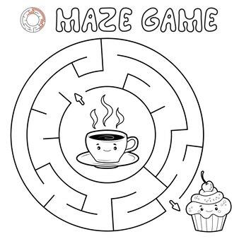 Labirynt gra logiczna dla dzieci. zarys koło labirynt lub labirynt gry z ciastem i herbatą.