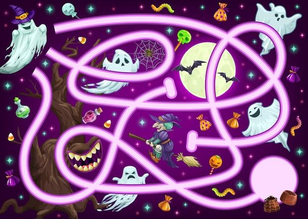 Labirynt gra logiczna, labirynt z kreskówek halloween, wektor dzieci i dzieci znajdują sposób lub ścieżkę zabawy. halloweenowy labirynt lub labirynt z czarownicami, czaszkami i duchowymi potworami, aby znaleźć sposób na słodycze