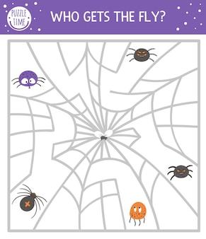 Labirynt halloween dla dzieci. jesienna aktywność edukacyjna do druku w przedszkolu. zabawny dzień zmarłych gra lub puzzle z pająkami, siecią, owadami. kto dostaje muchę?