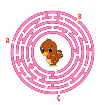 Labirynt koła. gra dla dzieci. ptak z indyka. puzzle dla dzieci. okrągła zagadka labiryntowa.