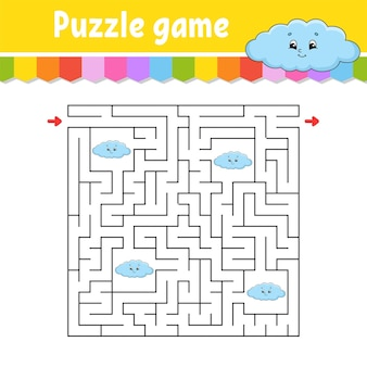 Labirynt kwadratowy. gra dla dzieci. śmieszna chmura. puzzle dla dzieci. zagadka labiryntu. znajdź właściwą drogę. postać z kreskówki.