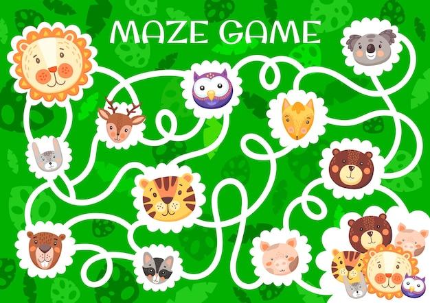 Labirynt labirynt z uroczymi zabawnymi zwierzętami. gra dla dzieci