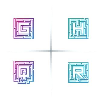 Labirynt liter czcionki logo design set