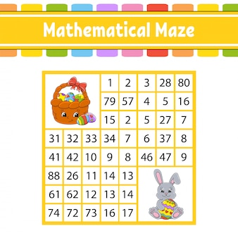 Labirynt matematyczny. gra dla dzieci. labirynt liczbowy. arkusz rozwijający edukację.