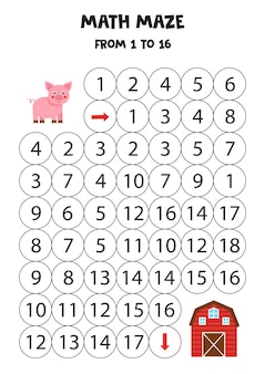 Labirynt matematyczny ze świnią i gospodarstwem. policz do 16. gra do druku dla dzieci.