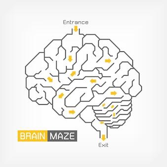Labirynt mózgu. koncepcja kreatywnego pomysłu. zarys móżdżku i pnia mózgu