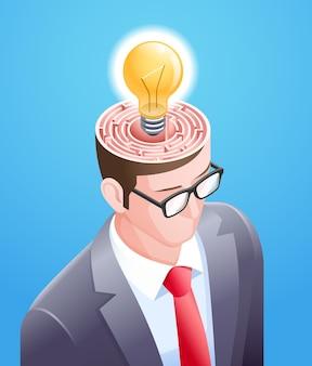 Labirynt mózgu z żarówką w głowie biznesmena