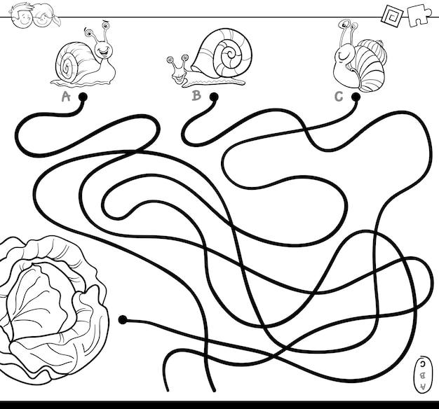 Labirynt ścieżki z ślimaków i sałaty kolorowanka