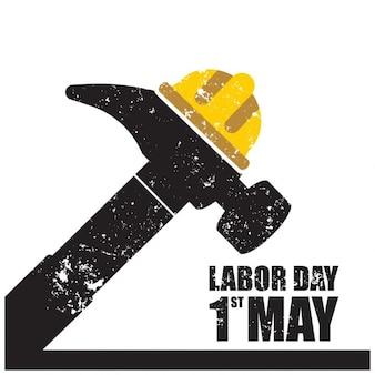 Labor day grunge hammer typografia