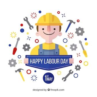 Labor day tle z narzędziami i ładnym charakterem