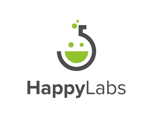 Laboratoria z uśmiechem szczęśliwą twarzą prosty elegancki kreatywny geometryczny nowoczesny projekt logo