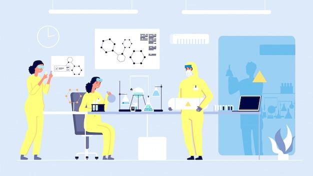 Laboratorium badawcze. kobiety-naukowcy, profesjonalne laboratorium medyczne. edukacja doktorska, studenci chemii i sprzęt. koncepcja innowacji i eksperymentów medycznych