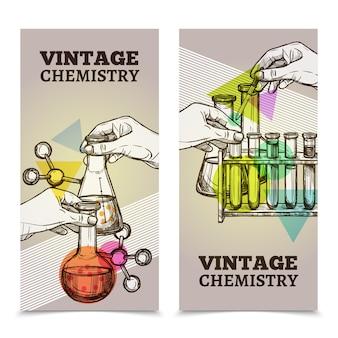 Laboratorium chemii vintage pionowe banery ustawione