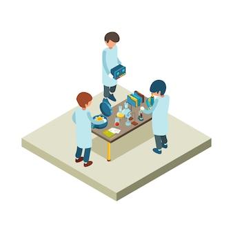Laboratorium izometryczne. laboratorium chemiczne naukowca z różnymi przedmiotami toksyczne płyny fiolki probówki ilustracje mikroskopu 3d