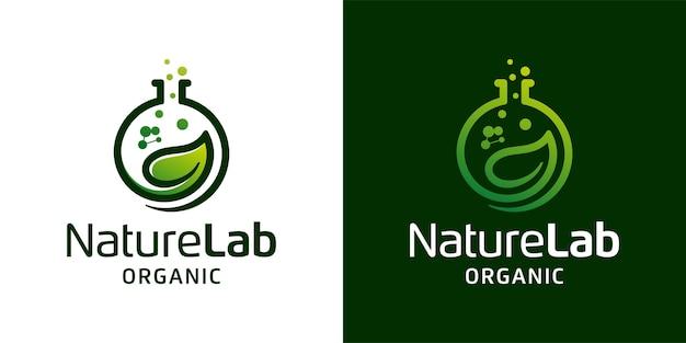 Laboratorium liści natury z szablonem inspiracji logo cząsteczki