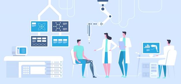 Laboratorium naukowe. człowiek z bioniczną nogą jako proteza.