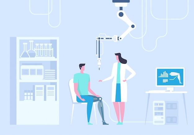 Laboratorium naukowe. mężczyzna z bionic nogą jako prothesis ilustracja