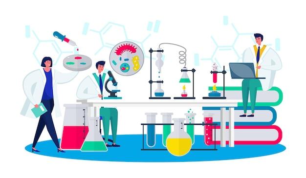 Laboratorium z nauką badania ilustracji wektorowych naukowiec ludzie charakter używa sprzętu laboratoryjnego do...