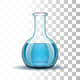 Laboratoryjna przezroczysta kolba z niebieskim płynem.