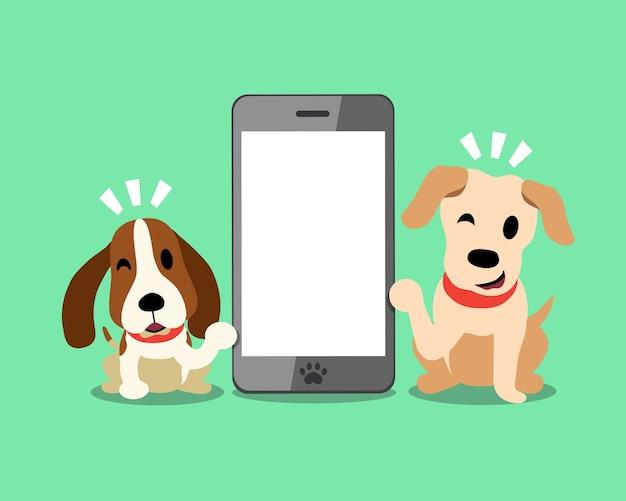 Labrador i pies gończy z smartphone