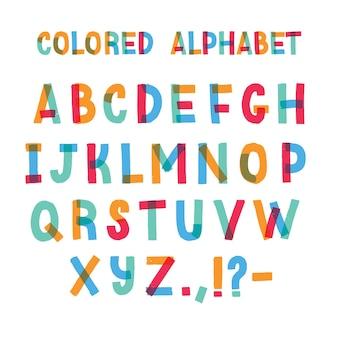Łacińska czcionka lub ozdobny alfabet angielski wykonany z kolorowej taśmy klejącej. kolorowa ilustracja w stylu cartoon płaski.