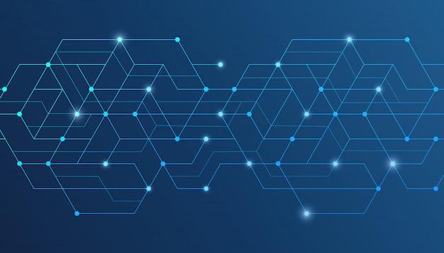 Łączą się abstrakcyjne linie i kropki. połączenie danych cyfrowych.