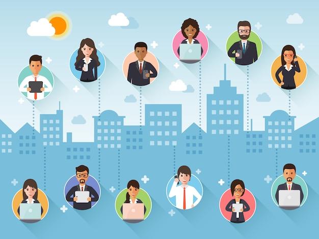 Łączenie biznesmena i interesu przez sieć społeczną.