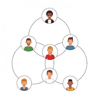 Łączenie ludzi catoon