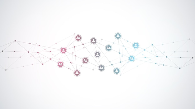 Łączenie ludzi i koncepcja komunikacji, sieć społecznościowa.