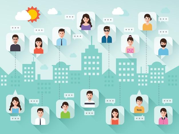Łączenie Ludzi Za Pośrednictwem Sieci Społecznościowej Na Scenie Miasta Premium Wektorów
