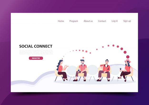 Łączenie społeczne dystans fizyczny. strona docelowa opieki zdrowotnej i medycznych mediów cyfrowych.