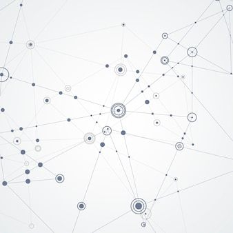 Łączyć linie i kropki, szablon okładki do prezentacji nauki i technologii lub do sieci