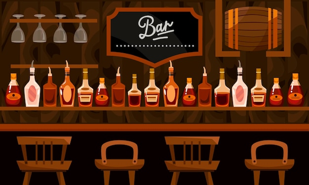 Lada barowa z napojami alkoholowymi. butelki, beczki i krzesła ilustracja kreskówka płaski