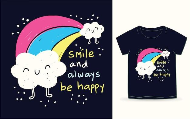 Ładna chmura i tęcza ręcznie rysowane na koszulkę