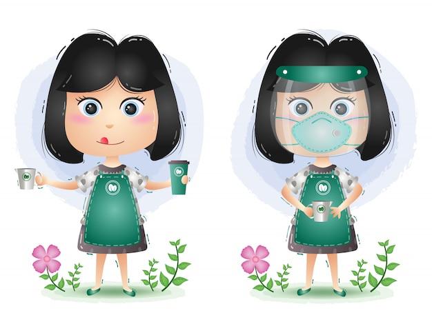 Ładna dziewczyna barista robi kawę za pomocą osłony twarzy i maski. nowy normalny znak ilustracji wektorowych.