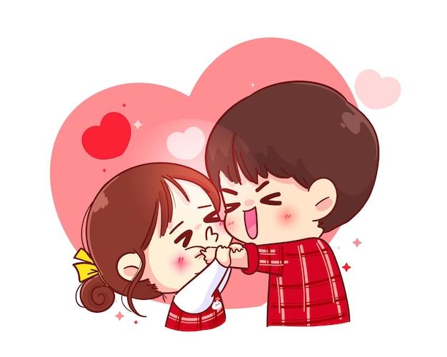Ładna dziewczyna całuje chłopca w policzek, szczęśliwa walentynka, postać z kreskówki ilustracja
