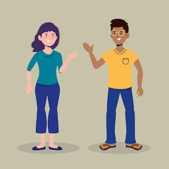 Ładna dziewczyna i chłopak rozmawiają z ubrań
