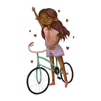 Ładna dziewczyna i jeździ na rowerze, ilustracja kolor ołówka