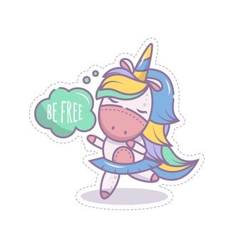 Ładna dziewczyna jednorożec kucyk tańczy w spódnicy. jest szczęśliwa i cieszy się wolnością. izolowany obiekt na białym tle. ikona w stylu kreskówki. naklejka dla dzieci. ilustracja liniowa.