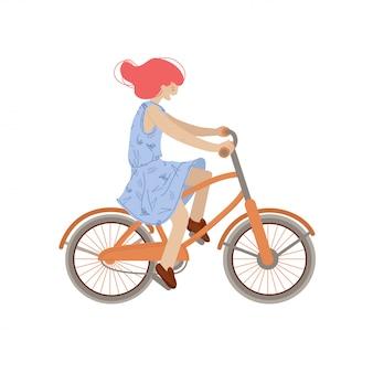 Ładna dziewczyna jeździć na rowerze miejskim. uśmiechnięta szczęśliwa kobieta na bicyklu, ilustracja, robi lato sportowi aktywność, odizolowywać na białym tle