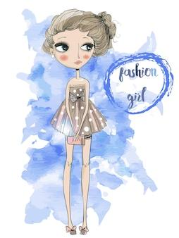 Ładna dziewczyna kreskówka moda w stylu szkicowym
