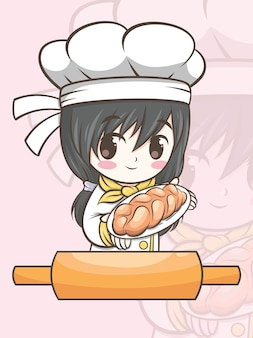 Ładna dziewczyna kucharz piekarni prezentująca chleb - postać z kreskówki i ilustracja logo