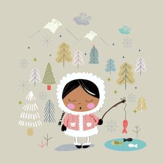 Ładna dziewczyna łowi ryby na alasce ręcznie rysowane może być używany do drukowania na koszulkach dla dzieci