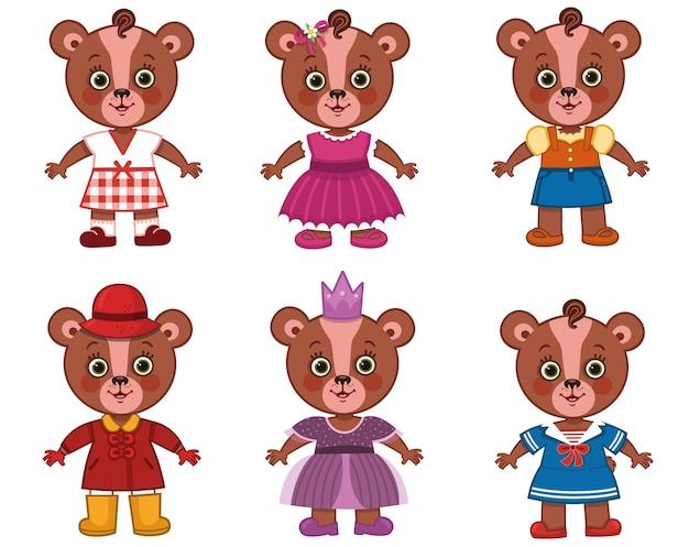 Ładna dziewczyna niedźwiedź postać z różnymi ubraniami ilustracji wektorowych