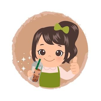 Ładna dziewczyna pije herbatę bąbelkową logo z kciuki do góry. płaska naklejka projektowa.