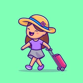 Ładna dziewczyna podróżująca ilustracja kreskówka. koncepcja ikona ludzie wakacje