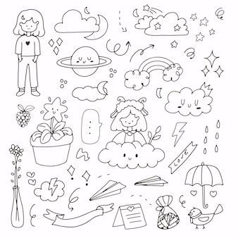 Ładna dziewczyna pogody i streszczenie zestaw naklejek do rysowania. ikona pogody z dziewczyną, planetą i chmurą