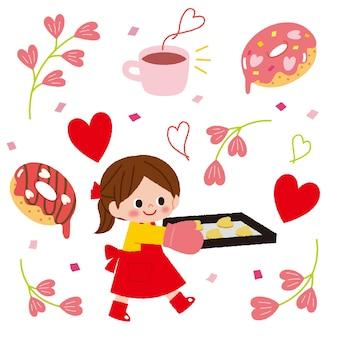 Ładna dziewczyna postać trzyma tacę słodyczy