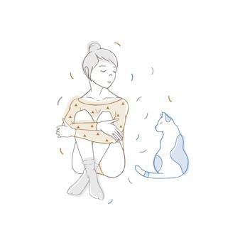 Ładna dziewczyna ubrana w body i skarpetki, siedząca ze skrzyżowanymi nogami i patrząca na kota. młoda kobieta i jej słodkie zwierzę domowe ręcznie rysowane z liniami konturu na białym tle. kolorowa ilustracja wektorowa