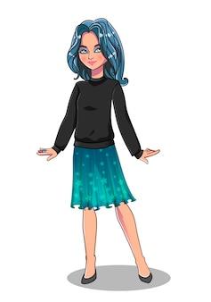 Ładna dziewczyna w modne ciuchy. ilustracji wektorowych